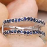 0.45 Carat (ctw) 14K White Gold Round Blue Sapphire Ladies Anniversary Wedding Band Millgrain Guard Double Ring 1/2 CT