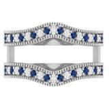 0.45 Carat (ctw) 10K White Gold Round Blue Sapphire & White Diamond Ladies Anniversary Wedding Band Millgrain Guard Double Ring 1/2 CT