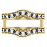 0.45 Carat (ctw) 10K Yellow Gold Round Blue Sapphire & White Diamond Ladies Anniversary Wedding Band Millgrain Guard Double Ring 1/2 CT