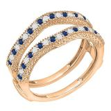 0.45 Carat (ctw) 14K Rose Gold Round Blue Sapphire & White Diamond Ladies Anniversary Wedding Band Millgrain Guard Double Ring 1/2 CT