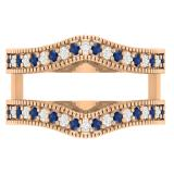 0.45 Carat (ctw) 14K Rose Gold Round Blue Sapphire & White Diamond Ladies Anniversary Wedding Band Millgrain Guard Double Ring 1/2 CT