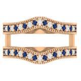 0.45 Carat (ctw) 18K Rose Gold Round Blue Sapphire & White Diamond Ladies Anniversary Wedding Band Millgrain Guard Double Ring 1/2 CT