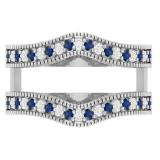 0.45 Carat (ctw) 18K White Gold Round Blue Sapphire & White Diamond Ladies Anniversary Wedding Band Millgrain Guard Double Ring 1/2 CT