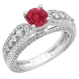 1.75 Carat (ctw) 10K White Gold Round Red Ruby & White Diamond Ladies Vintage Style Solitaire With Accents Bridal Engagement Ring 1 3/4 CT