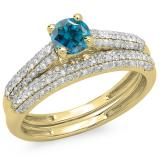 1.00 Carat (ctw) 10K Yellow Gold Round Blue & White Diamond Ladies Bridal Engagement Ring With Matching Band Set 1 CT