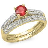 1.00 Carat (ctw) 18K Yellow Gold Round Red Ruby & White Diamond Ladies Bridal Engagement Ring With Matching Band Set 1 CT