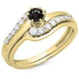 0.55 Carat (ctw) 14K Yellow Gold Round Black & White Diamond Ladies Twisted Style Bridal Engagement Ring With Matching Band Set 1/2 CT