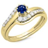 0.55 Carat (ctw) 10K Yellow Gold Round Blue Sapphire & White Diamond Ladies Twisted Style Bridal Engagement Ring With Matching Band Set 1/2 CT