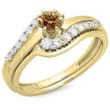0.55 Carat (ctw) 10K Yellow Gold Round Champagne & White Diamond Ladies Twisted Style Bridal Engagement Ring With Matching Band Set 1/2 CT