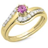 0.55 Carat (ctw) 10K Yellow Gold Round Pink Sapphire & White Diamond Ladies Twisted Style Bridal Engagement Ring With Matching Band Set 1/2 CT