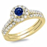 1.00 Carat (ctw) 14K Yellow Gold Round Cut Blue Sapphire & White Diamond Ladies Bridal Halo Style Engagement Ring With Matching Band Set 1 CT