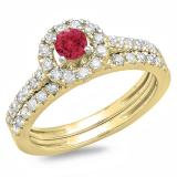 1.00 Carat (ctw) 10K Yellow Gold Round Cut Red Ruby & White Diamond Ladies Bridal Halo Style Engagement Ring With Matching Band Set 1 CT