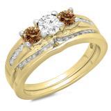 1.10 Carat (ctw) 10K Yellow Gold Round Champagne & White Diamond Ladies Bridal 3 Stone Engagement Ring With Matching Band Set 1 CT