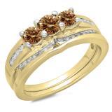 1.10 Carat (ctw) 18K Yellow Gold Round Champagne & White Diamond Ladies Bridal 3 Stone Engagement Ring With Matching Band Set 1 CT