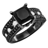 5.10 Carat (ctw) Black Rhodium Plated Sterling Silver Princess & Round Cut Black & White Diamond Ladies Vintage Style Solitaire With Accents Bridal Engagement Ring
