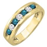 0.85 Carat (ctw) 10K Yellow Gold Round White & Blue Diamond Mens Anniversary Wedding Band Ring