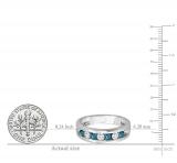 0.85 Carat (ctw) 14K White Gold Round White & Blue Diamond Mens Anniversary Wedding Band Ring