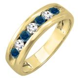0.85 Carat (ctw) 18K Yellow Gold Round White & Blue Diamond Mens Anniversary Wedding Band Ring
