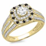 1.10 Carat (ctw) 14K Yellow Gold Round Cut Black & White Diamond Ladies Split Shank Vintage Style Bridal Halo Engagement Ring 1 CT