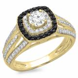 1.10 Carat (ctw) 10K Yellow Gold Round Cut Black & White Diamond Ladies Split Shank Vintage Style Bridal Halo Engagement Ring 1 CT