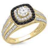 1.10 Carat (ctw) 18K Yellow Gold Round Cut Black & White Diamond Ladies Split Shank Vintage Style Bridal Halo Engagement Ring 1 CT