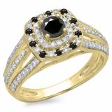 1.10 Carat (ctw) 14K Yellow Gold Round Cut Black & White Diamond Ladies Split Shank Vintage Style Bridal Halo Engagement Ring 1 CT