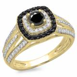 1.10 Carat (ctw) 18K Yellow Gold Round Cut Black & White Diamond Ladies Split Shank Vintage Style Bridal Halo Engagement Ring 1 CT