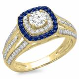 1.10 Carat (ctw) 18K Yellow Gold Round Cut Blue Sapphire & White Diamond Ladies Split Shank Vintage Style Bridal Halo Engagement Ring 1 CT