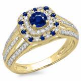 1.10 Carat (ctw) 14K Yellow Gold Round Cut Blue Sapphire & White Diamond Ladies Split Shank Vintage Style Bridal Halo Engagement Ring 1 CT