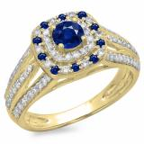1.10 Carat (ctw) 18K Yellow Gold Round Cut Blue Sapphire & White Diamond Ladies Split Shank Vintage Style Bridal Halo Engagement Ring 1 CT