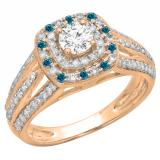 1.10 Carat (ctw) 14K Rose Gold Round Cut Blue & White Diamond Ladies Split Shank Vintage Style Bridal Halo Engagement Ring 1 CT