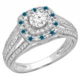 1.10 Carat (ctw) 18K White Gold Round Cut Blue & White Diamond Ladies Split Shank Vintage Style Bridal Halo Engagement Ring 1 CT