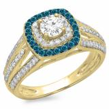 1.10 Carat (ctw) 14K Yellow Gold Round Cut Blue & White Diamond Ladies Split Shank Vintage Style Bridal Halo Engagement Ring 1 CT