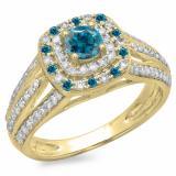 1.10 Carat (ctw) 14K Yellow Gold Round Cut Blue & White Diamond Ladies Split Shank Vintage Style Bridal Halo Engagement Ring 1 CT