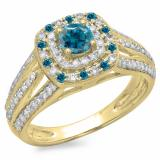1.10 Carat (ctw) 18K Yellow Gold Round Cut Blue & White Diamond Ladies Split Shank Vintage Style Bridal Halo Engagement Ring 1 CT