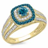 1.10 Carat (ctw) 18K Yellow Gold Round Cut Blue & White Diamond Ladies Split Shank Vintage Style Bridal Halo Engagement Ring 1 CT