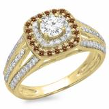 1.10 Carat (ctw) 18K Yellow Gold Round Cut Champagne & White Diamond Ladies Split Shank Vintage Style Bridal Halo Engagement Ring 1 CT