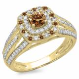 1.10 Carat (ctw) 18K Yellow Gold Round Cut Champagne & White Diamond Ladies Split Shank Vintage Style Bridal Halo Engagement Ring 1 CT