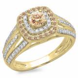 1.10 Carat (ctw) 14K Yellow Gold Round Cut Champagne & White Diamond Ladies Split Shank Vintage Style Bridal Halo Engagement Ring 1 CT