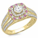 1.10 Carat (ctw) 10K Yellow Gold Round Cut Pink Sapphire & White Diamond Ladies Split Shank Vintage Style Bridal Halo Engagement Ring 1 CT
