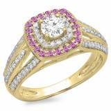 1.10 Carat (ctw) 14K Yellow Gold Round Cut Pink Sapphire & White Diamond Ladies Split Shank Vintage Style Bridal Halo Engagement Ring 1 CT