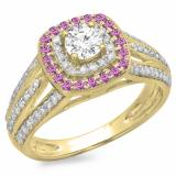 1.10 Carat (ctw) 18K Yellow Gold Round Cut Pink Sapphire & White Diamond Ladies Split Shank Vintage Style Bridal Halo Engagement Ring 1 CT