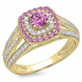 1.10 Carat (ctw) 14K Yellow Gold Round Cut Pink Sapphire & White Diamond Ladies Split Shank Vintage Style Bridal Halo Engagement Ring 1 CT