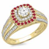 1.10 Carat (ctw) 14K Yellow Gold Round Cut Ruby & White Diamond Ladies Split Shank Vintage Style Bridal Halo Engagement Ring 1 CT