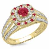 1.10 Carat (ctw) 10K Yellow Gold Round Cut Ruby & White Diamond Ladies Split Shank Vintage Style Bridal Halo Engagement Ring 1 CT
