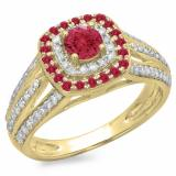 1.10 Carat (ctw) 14K Yellow Gold Round Cut Ruby & White Diamond Ladies Split Shank Vintage Style Bridal Halo Engagement Ring 1 CT