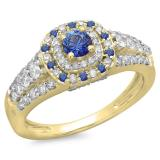 1.00 Carat (ctw) 18K Yellow Gold Round Cut Blue Sapphire & White Diamond Ladies Vintage Style Bridal Halo Engagement Ring 1 CT