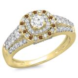 1.00 Carat (ctw) 18K Yellow Gold Round Cut Champagne & White Diamond Ladies Vintage Style Bridal Halo Engagement Ring 1 CT