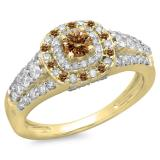 1.00 Carat (ctw) 18K Yellow Gold Round Cut Champagne & White Diamond Ladies Vintage Style Bridal Halo Engagement Ring 1 CT
