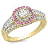 1.00 Carat (ctw) 14K Yellow Gold Round Cut Pink Sapphire & White Diamond Ladies Vintage Style Bridal Halo Engagement Ring 1 CT